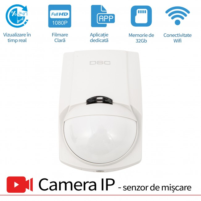 Senzor de prezenta PIR cu microcamera video spion WI-FI IP P2P ascunsa, senzor miscare, 32 Gb ,1080p,  SPCSWIIP121