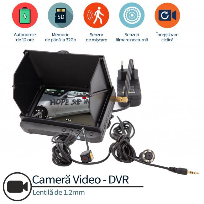 Microcamera spy anti-vandalism auto cu senzor de miscare, 32 gb