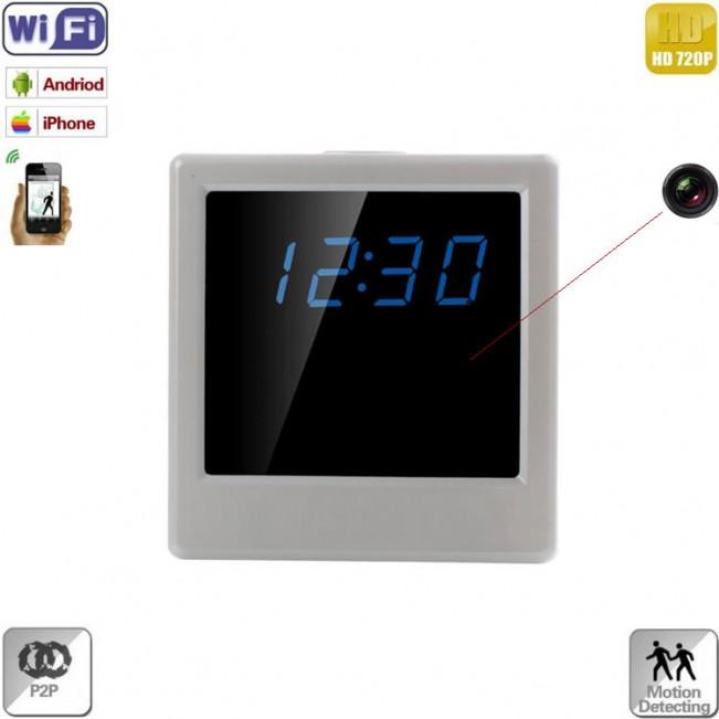 Ceas de birou pentru spionaj cu microcamera wi-fi ip ,p2p, senzor de miscare integrat si rezolutie 1280x720p