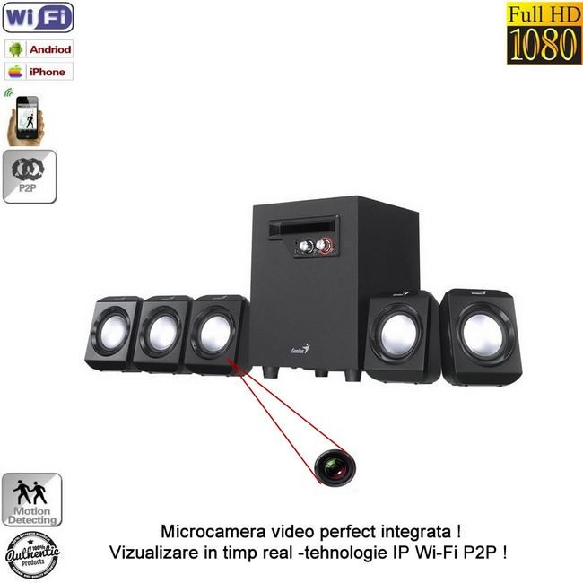 Modul mini camera spy IP wireless P2P cu senzor de miscare integrata in boxa