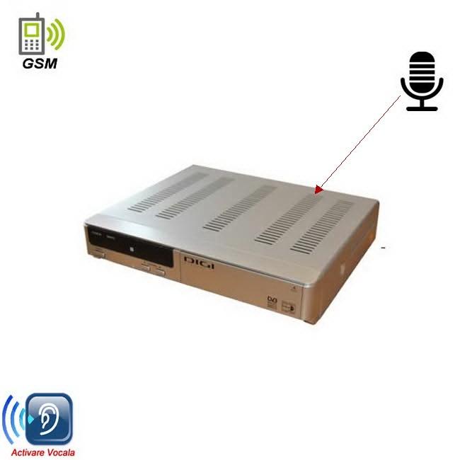 Dispozitiv de ascultare prin GSM cu activare vocala camuflat in decodor tv