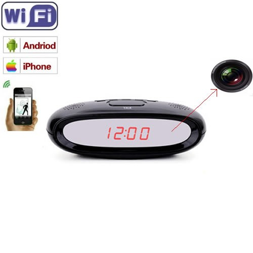 Ceas de birou pentru spionaj discret audio si video wi-fi ip p2p cu senzor de miscare si filmare in infrarosu