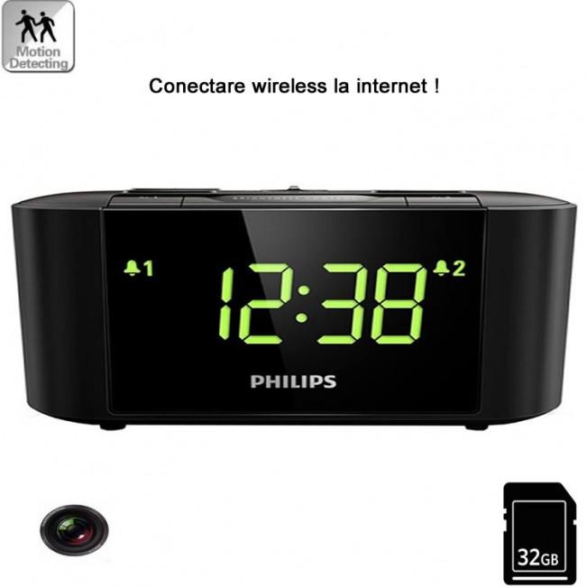 Mini camera spy WI-FI IP P2P  mascata in ceas de birou cu senzor de miscare