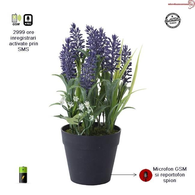 Ghiveci de Flori cu Mini Modul Microfon Hibrid - Reportofon 2999 de Ore+Microfon Gsm cu Activare Vocala, Sunet Clar