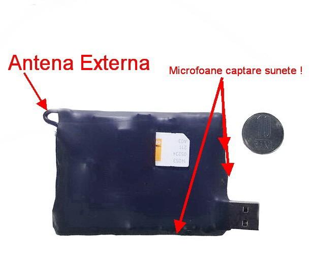Dispozitiv spion profesional - Hibrid - GSM Profesional + reportofon spy cu activare vocala