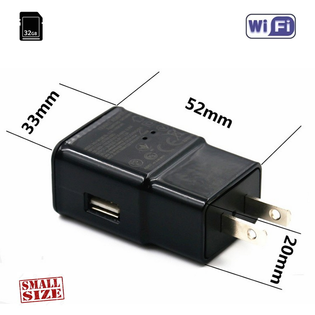 Camera Video Spy Integrata in Incarcator USB WIFI,  Ip, p2p, DVR, 32 GB, Senzor de Miscare