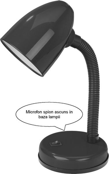 Lampa de birou Hibrid - reportofon + GSM pentru spionaj discret audio