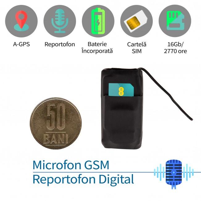 Mini reportofon profesional 2999 + microfon gsm spy cu activare vocala + agps model MINIRIB08