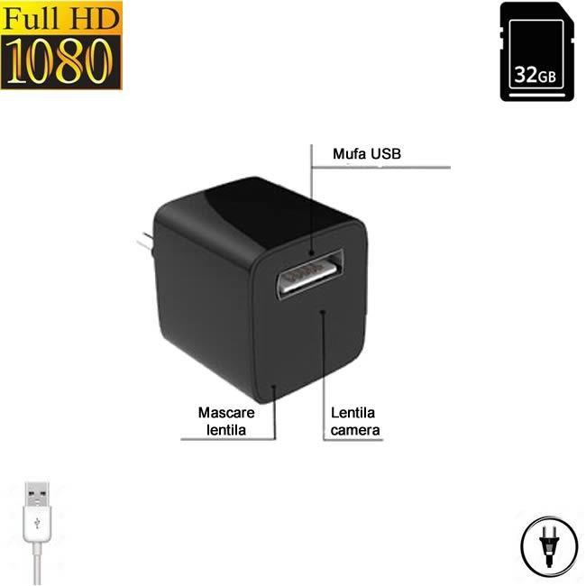 Incarcator USB pentru telefon cu mini camera pentru spionaj , alimentare permanenta