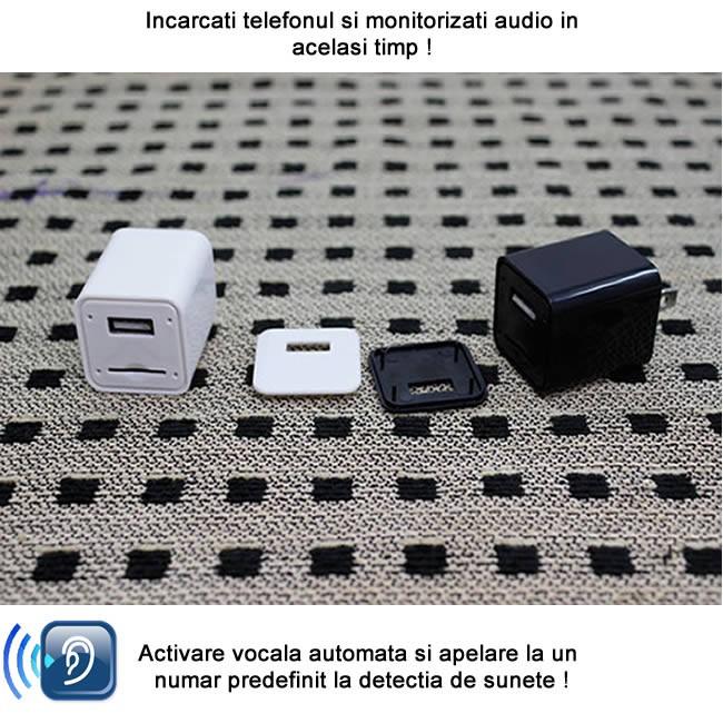 Incarcator USB de telefon cu mini modul microfon gsm pentru spionaj