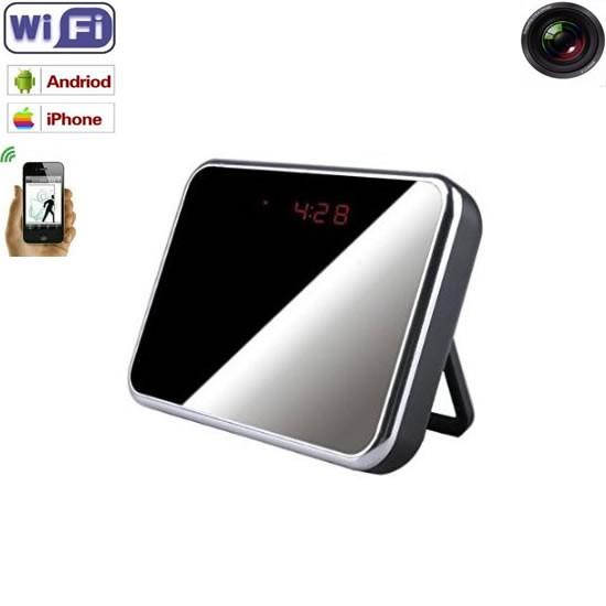 Ceas de birou cu mini camera wi-fi ip p2p integrata, rezolutie 1920x1080p, detector de miscare, card microSD 32Gb
