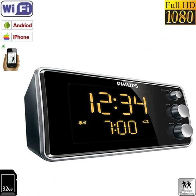 Mini modul camera spy WI-FI IP P2P integrata in ceas de birou , detector de miscare si rezolutie 1080p
