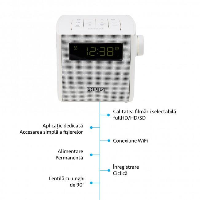 Camera Wi-Fi Ip P2P pentru Spionaj Discret Integrata in Ceas de Birou Philips cu Senzor de Miscare si Rezolutie 1920x1080p