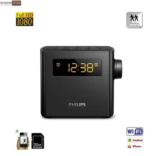 Camera Video pentru Supraveghere Wi-Fi P2P+DVR Mascata in Ceas de Birou cu Lentila Nedetectabila, Senzor de Miscare