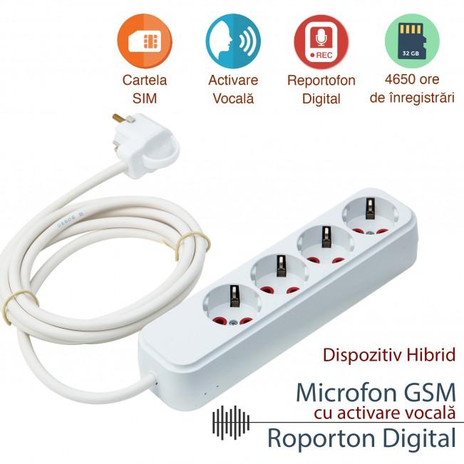 Prelungitor spion cu 2 functii : microfon gsm pentru spionaj in timp real si inregistrare (4650 de ore) - alimentare permanenta