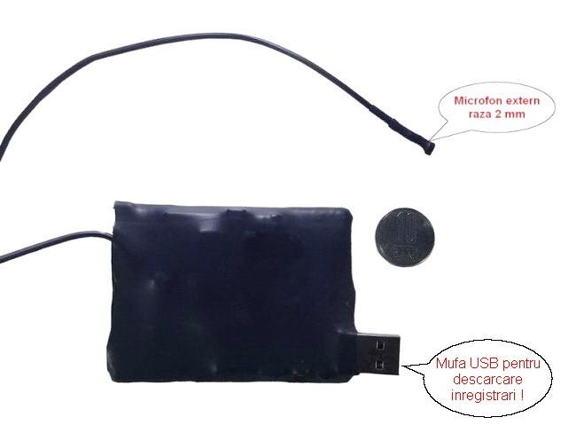 Microfon cu inregistrare pentru spionaj 278  de ore– 2 mm , x-tend