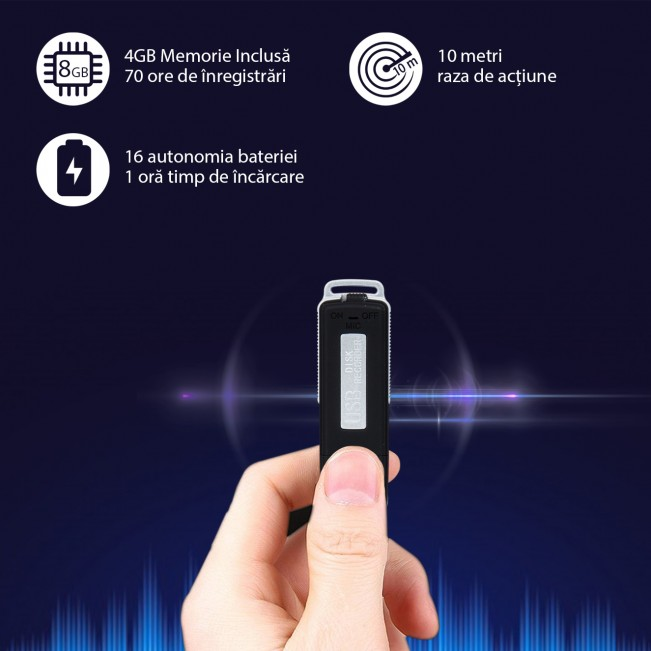 Stick USB 4GB Reportofon Spion Digital - Super Comandat