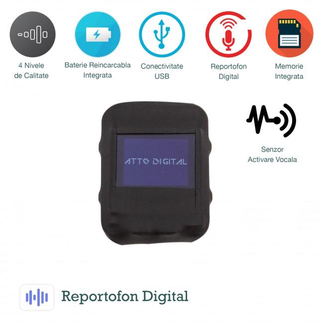 Microfon spy cu inregistare configurabil cu functie de activare vocala, memorie 8Gb - SAM08