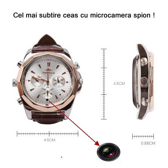 Ceas de mana cu microcamera spion si memorie de 4Gb - 8,8mm - cel mai subtire