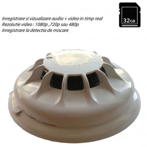 Detector de fum camera spion WI-FI IP P2P mascata,  rezolutie HD