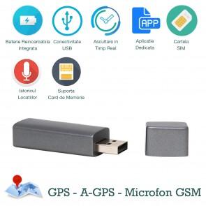 Trackstick - Urmaritor Traseu GPS Spionaj cu Microfon Gsm+Reportofon, Istoric Traseu