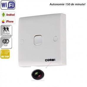 Intrerupator lumina microcamera spy, DVR + wi-fi IP P2P, HD