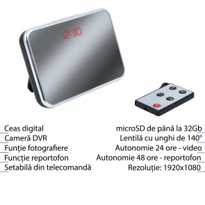 Cameră Ascunsă Spy HD în Ceas de Birou cu Telecomandă , 5 Mp , Senzor de Mișcare - TOP