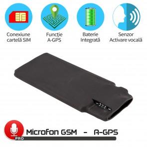 Minimicrofon Spion GSM cu Detectie Vocala Reglabila Numar Decibeli+ AGPS, Autonomie 1152 de Ore, Model MN11MAX+