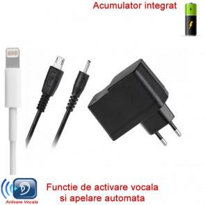 Incarcator pentru priza HIBRID profesional cu microfon gsm + reportofon + functie de agps