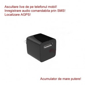 Incarcator USB Profesional Hibrib  Microfon Gsm cu Activare Vocala + Reportofon 2400 de ore + Functie AGPS