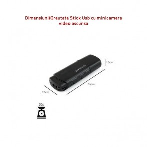Camera Video Spy Camuflata in Stick USB de Memorie, Night Vision, 1080p, 32Gb