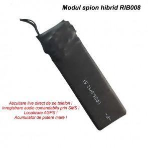 Dispozitiv HIBRID compact cu reportofon 2400 de ore + microfon gsm + agps