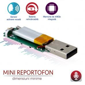 Modul spy reportofon profesional 75 de ore, functie de activare la detectia vocii , Super Mic 4 Gb